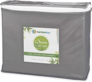 BAMBOO BAY 6-Piece Bamboo Sheet Set - Cool Sheets for Hot Sleepers (10 Colors) - Soft & Breathable 100% Viscose from Bamboo - Extra Deep Pocket, No-Slip Fitted Sheet (Queen Size, Dark Grey)