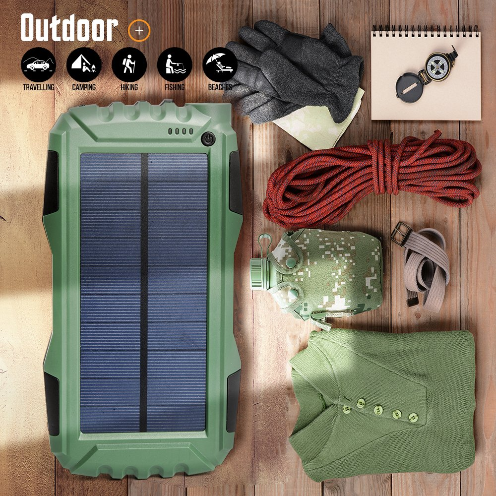 More Smart Phone 25000mAh Portable Solar Power Bank Dual USB Output Battery Bank with Strong LED Light Elzle Outdoor Solar Charger Phone External Battery Shockproof Dustproof for iPhone Series