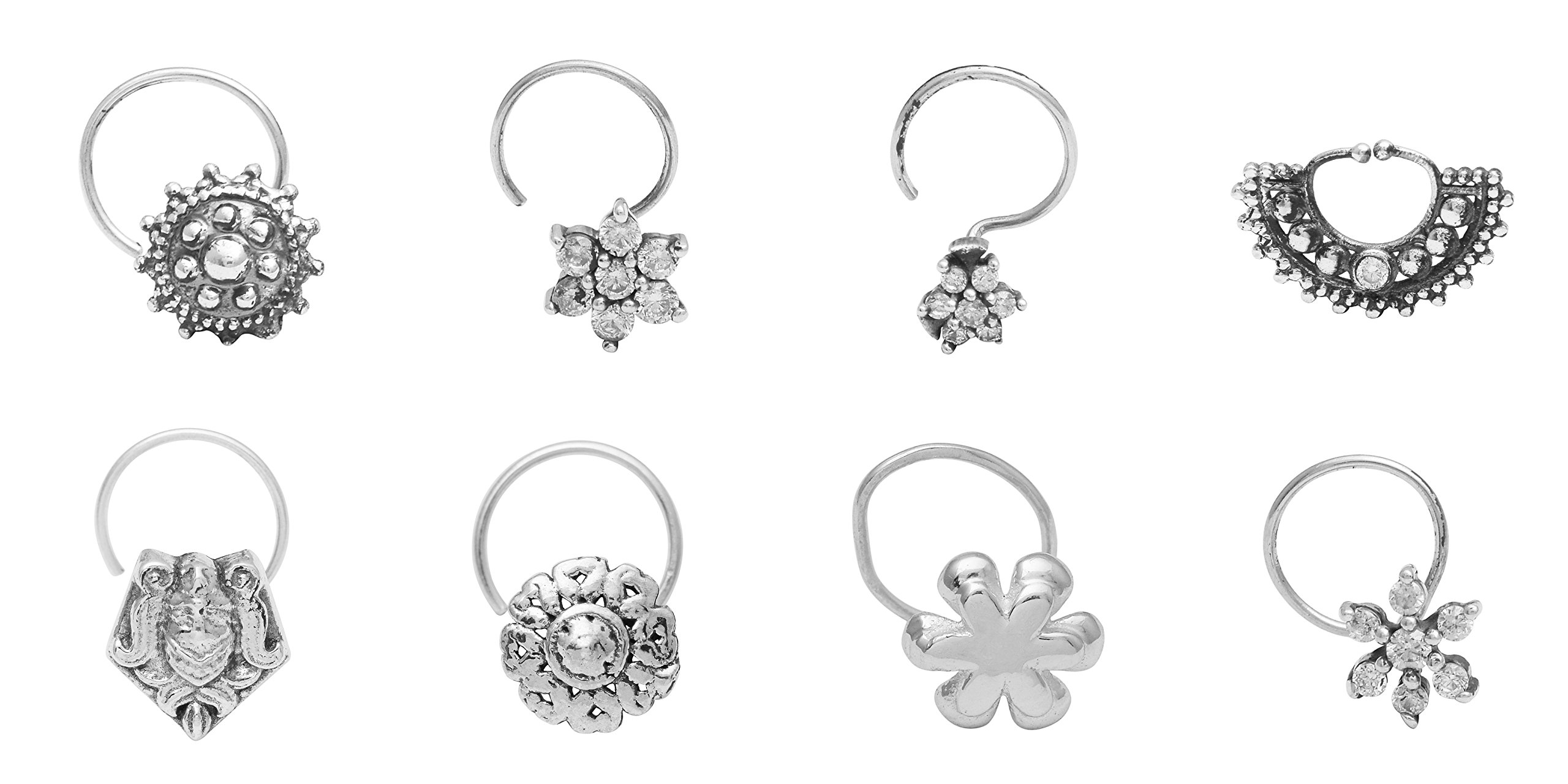 Shine Jewel Combo 8 Pcs 925 Silver Oxidized Nose Pin For Women and Girls Wedding Anniversary
