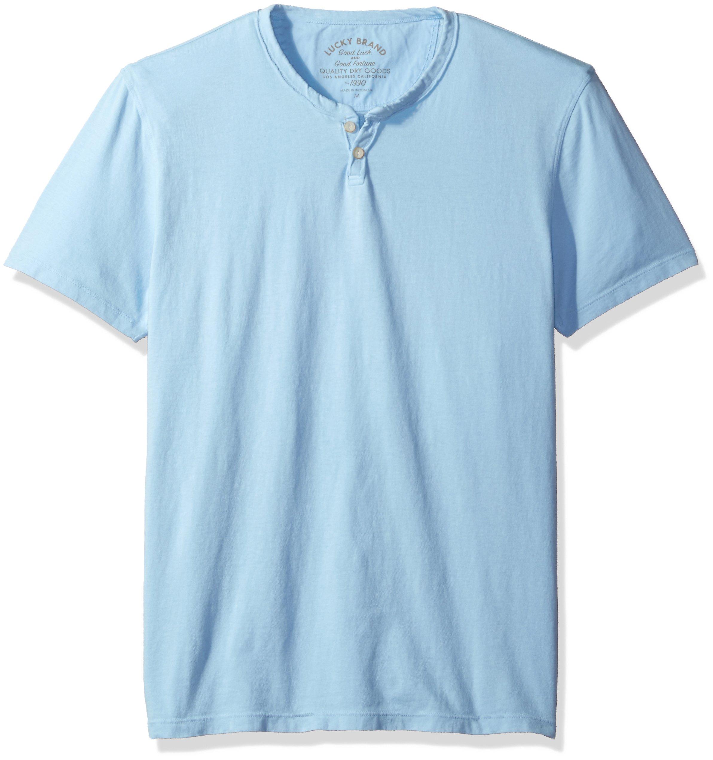 Lucky Brand Men's Button Notch Neck Tee, Dream Blue, X-Large