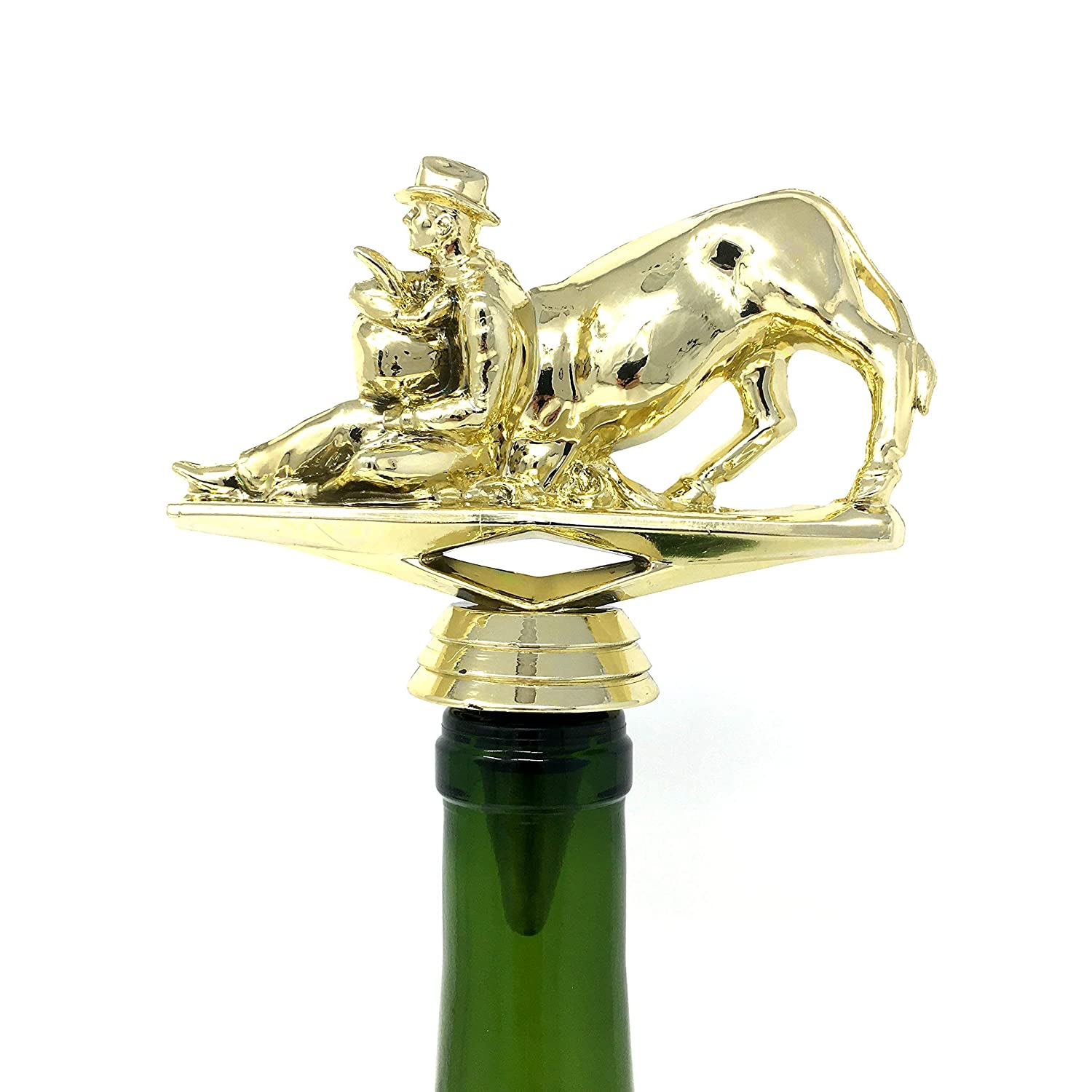 Bull Dogger Wine Bottle Stopper Handmade with Stainless Steel Base and Repurposed Trophy Top