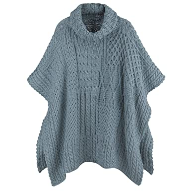 be5ff4da9 Aran Woollen Mills Women's Irish Wool Poncho - Patchwork Merino Cape - Mist  at Amazon Women's Clothing store: