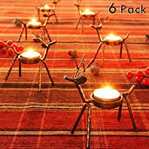 FORUP 6 Pack Metal Reindeer Tea Light Candle Holders, Christmas Decoration for Home, Reindeer Candle Holder, Metal Candle Holder, Christmas Candle Holder
