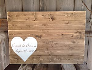 43LenaJon Wedding Guest Book, Wedding Guest Book, Guest Book, Wedding guestbook, Wood Sign,Hanging Wooden Label for Garden Decor