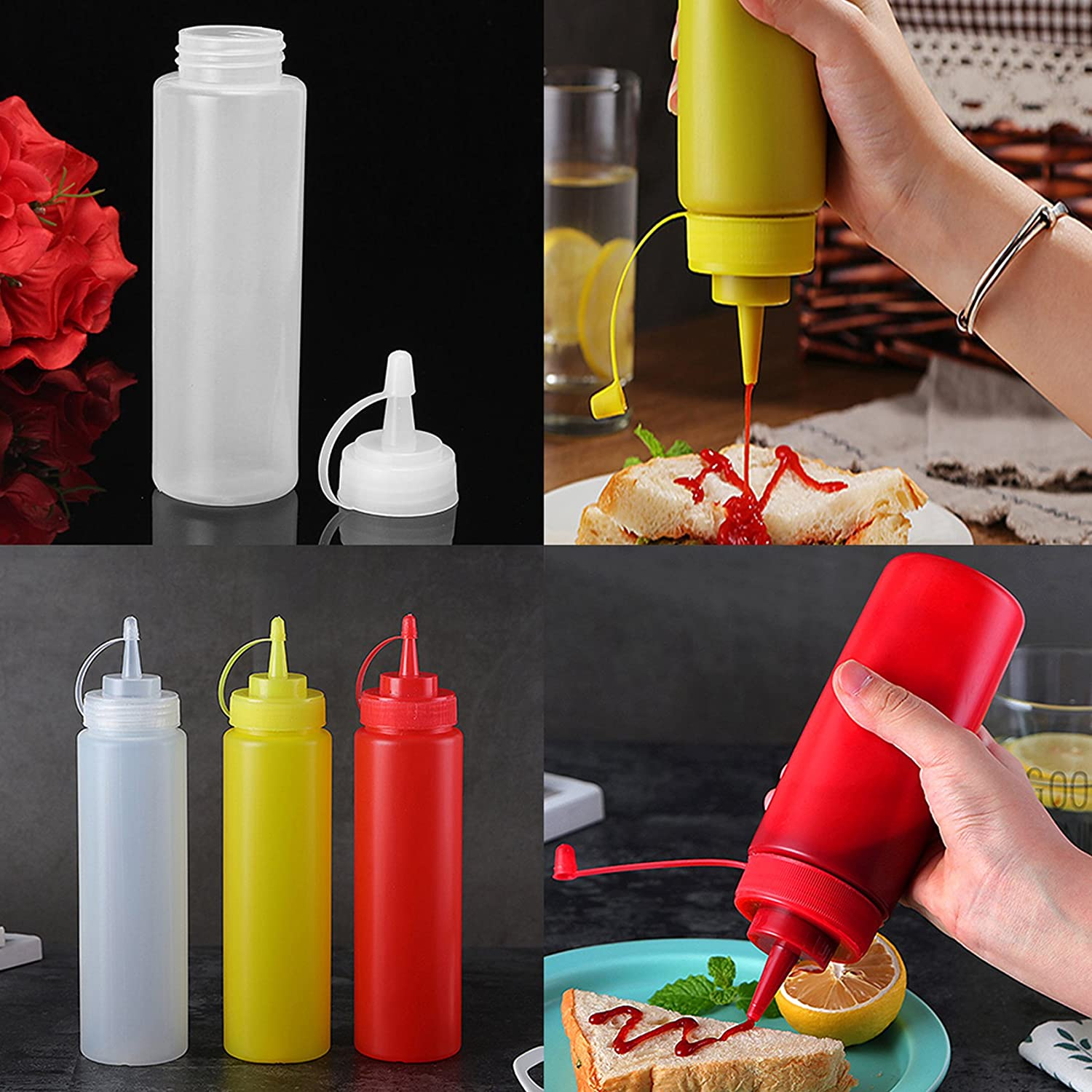 Sauce Bottle Squeeze Dispenser Pourer Set