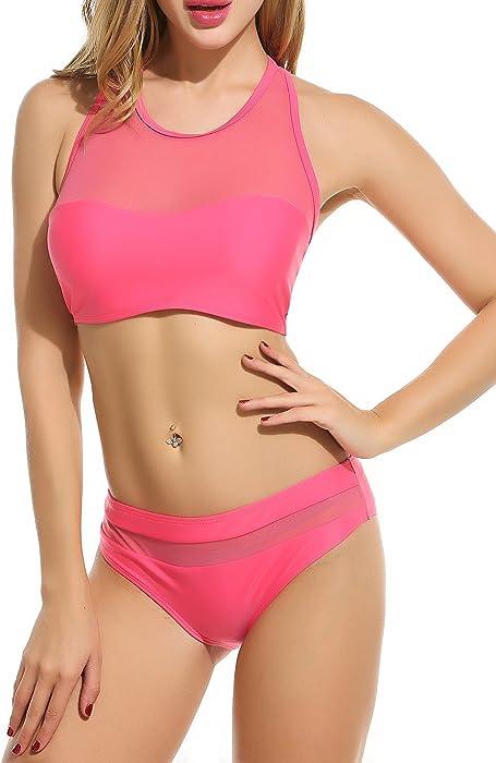 6668b58dcf Avidlove 2017 High Neck Mesh Bikini Top+Bottom Two Piece Women Sexy Swimwear ,Red