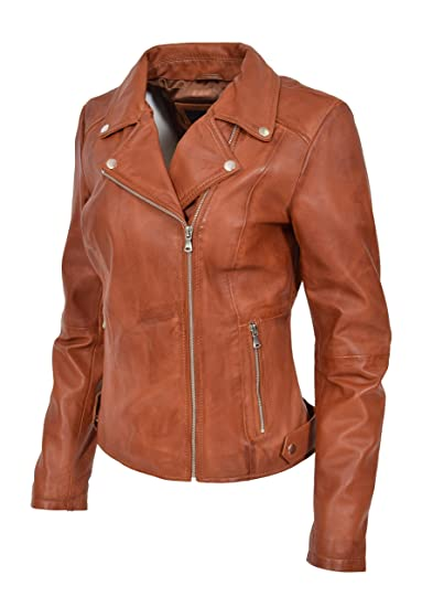 women outlet sale buy best A1 FASHION GOODS Womens Leather Jacket Cognac Fitted Biker ...