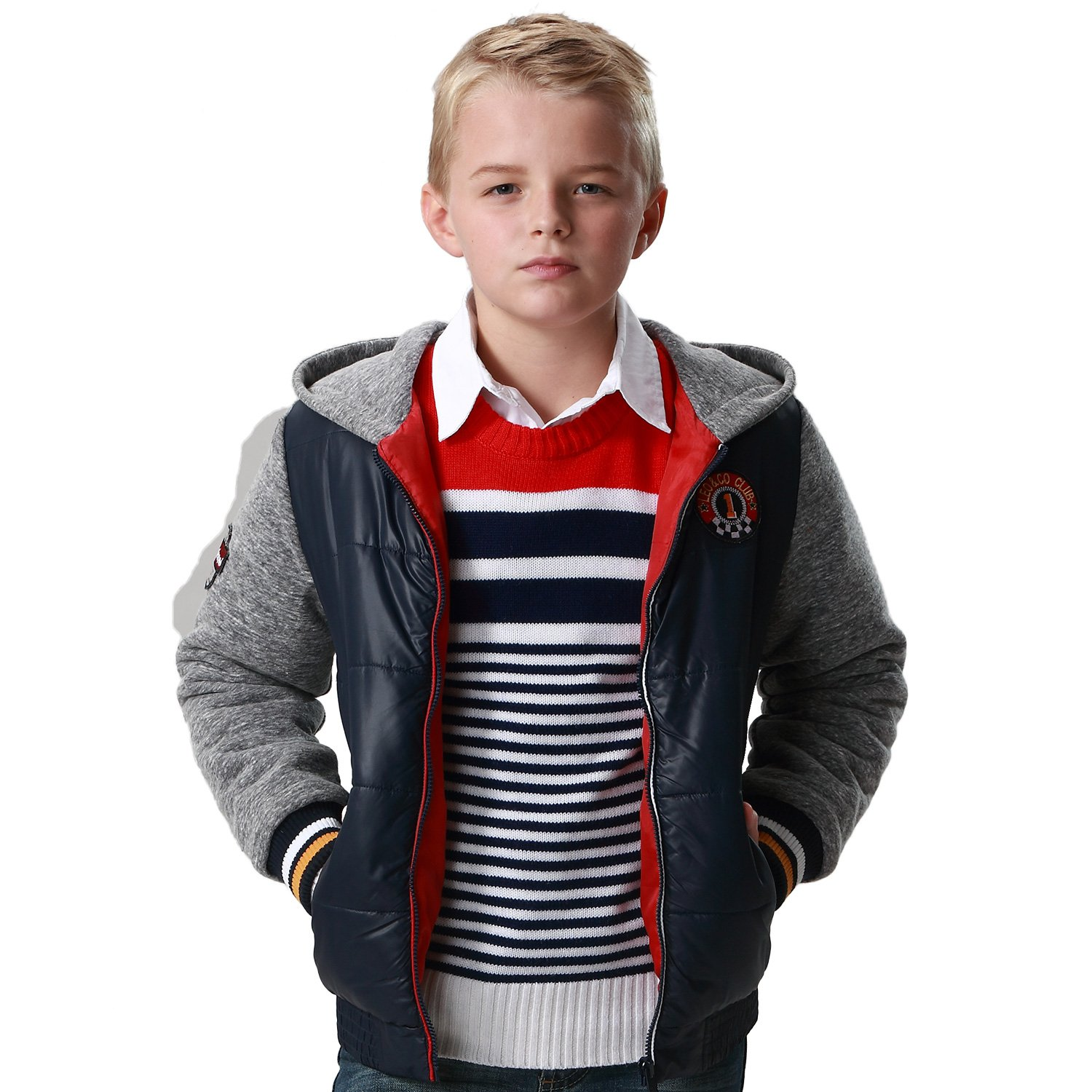 Leo&Lily Boys Padded Puffer Jacket Outwear Coats Fleece Hood Sleeves LLB1564-10-Navy-$P