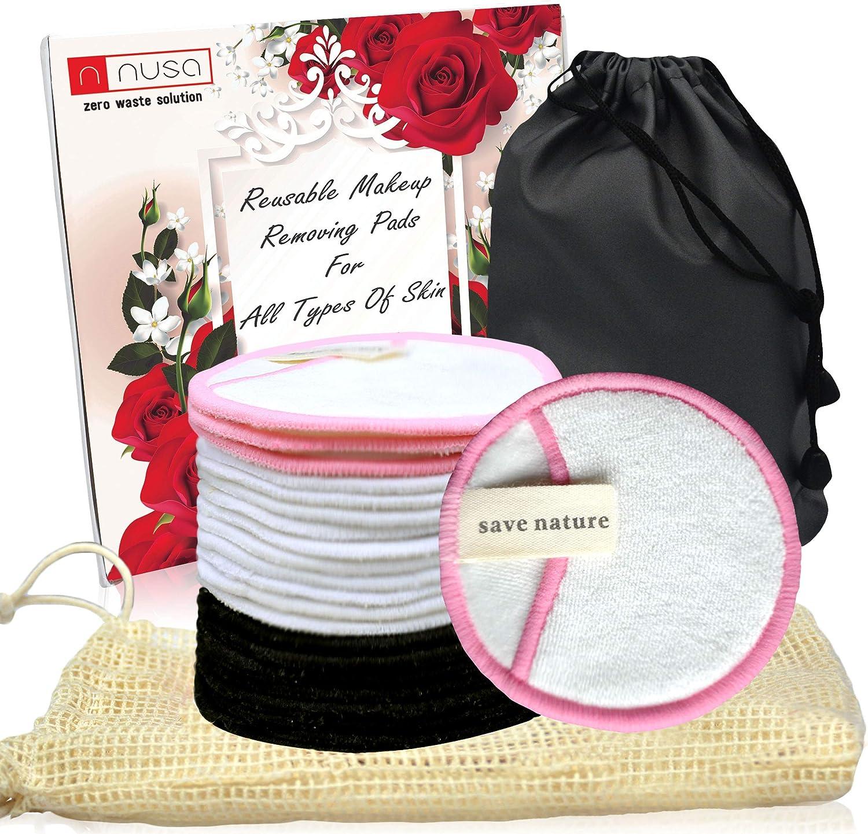 Paquete de 20 almohadillas de algodón reutilizables (tres capas, 8 cm, dos bolsas, caja de regalo) almohadillas de maquillaje reutilizables: Amazon.es: Belleza