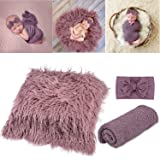 Aniwon 2Pcs Baby Photo Props Long Ripple Wraps DIY Blanket Newborn Wraps Photography Mat for Baby Boys and Girls