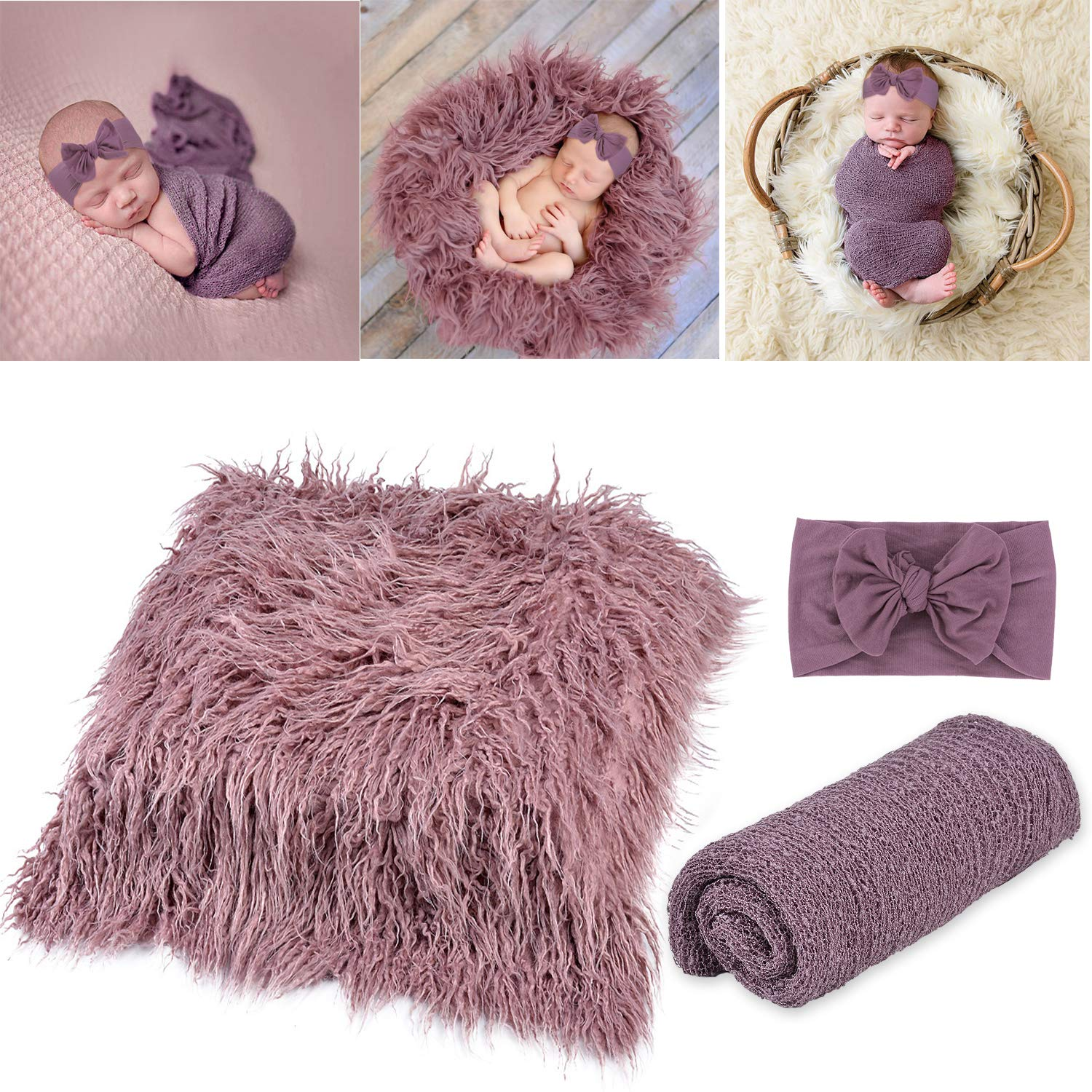 Newborn Baby Photography Props,Aniwon 3Pcs DIY Toddler Photo Blankets Wrap Outfits and Headband Long Ripple Wraps Prop Swaddle Wrap Photography Mat for Boys and Girls (Dark Purple)
