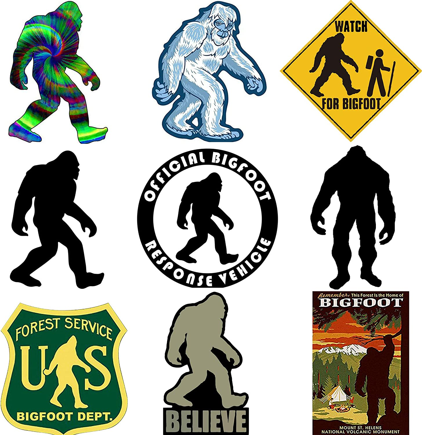 GTOTd Forest Service Sasquatch/ Bigfoot Decal Car 4x4 Jeep Sticker Bumper Stickers Vinyl Decal Sticker Pack(9 Pcs)