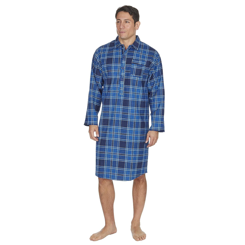 Cargo Bay Mens Check Stripe Print Flannel Nightshirt