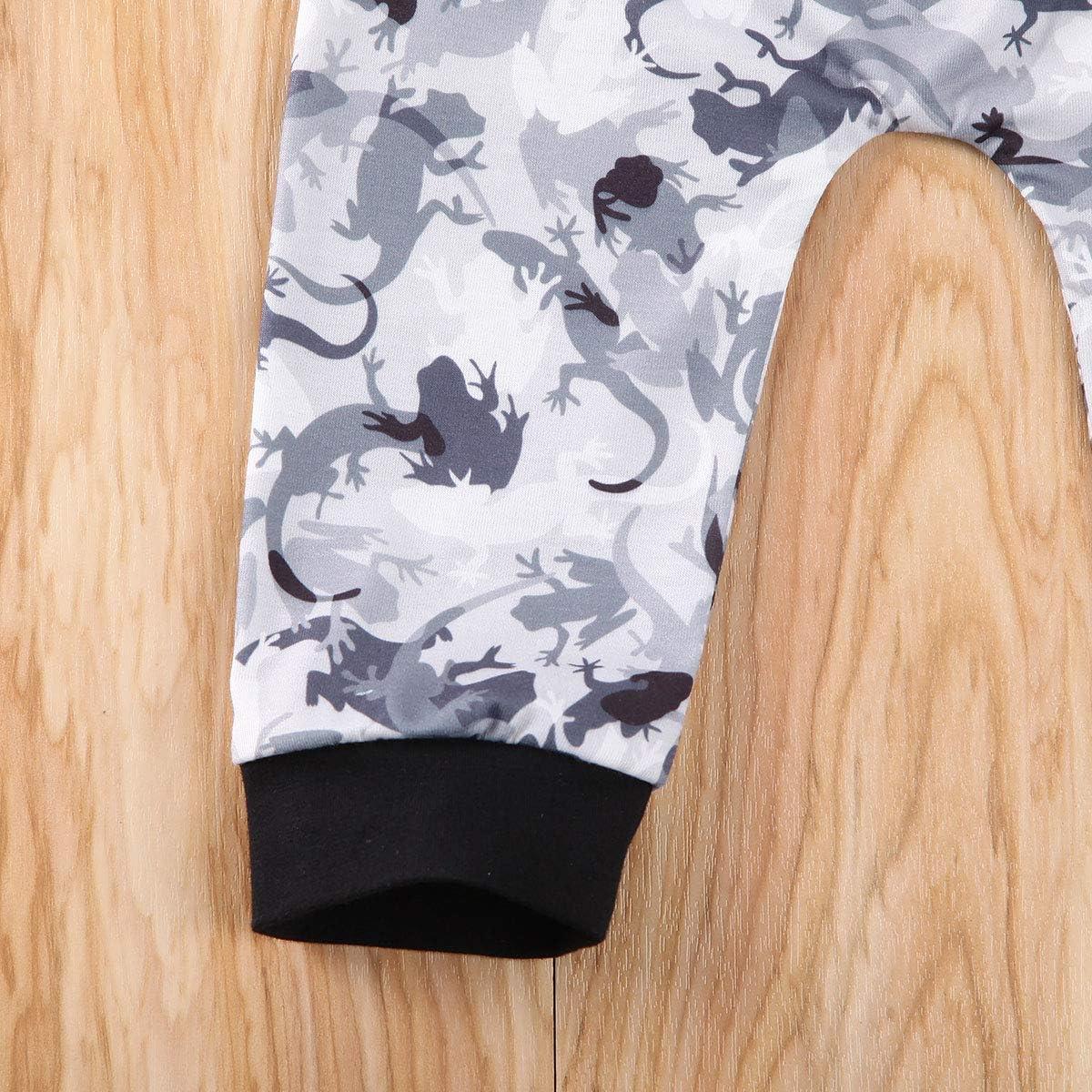 Mioliknya Newborn Baby Boy Dinosaur Print Short Sleeve Pocket Hoodie Top Sweatshirts+Long Pants 2Pcs Infant Summer Outfits