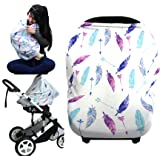 Silky Stretchy Baby Car Seat Cover,Multi-Use Infinity Nursing Covers And Breastfeeding Cover,Carseat Canopy For Boys&Grils,Shopping Cart and Stroller,Carseat Covers (colorful feather)