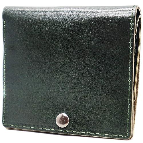 a170b2a056fd グリーン F 本革 レザー コンパクト イタリアンレザー メンズ 薄型 小さい 薄い財布 二つ折り財布