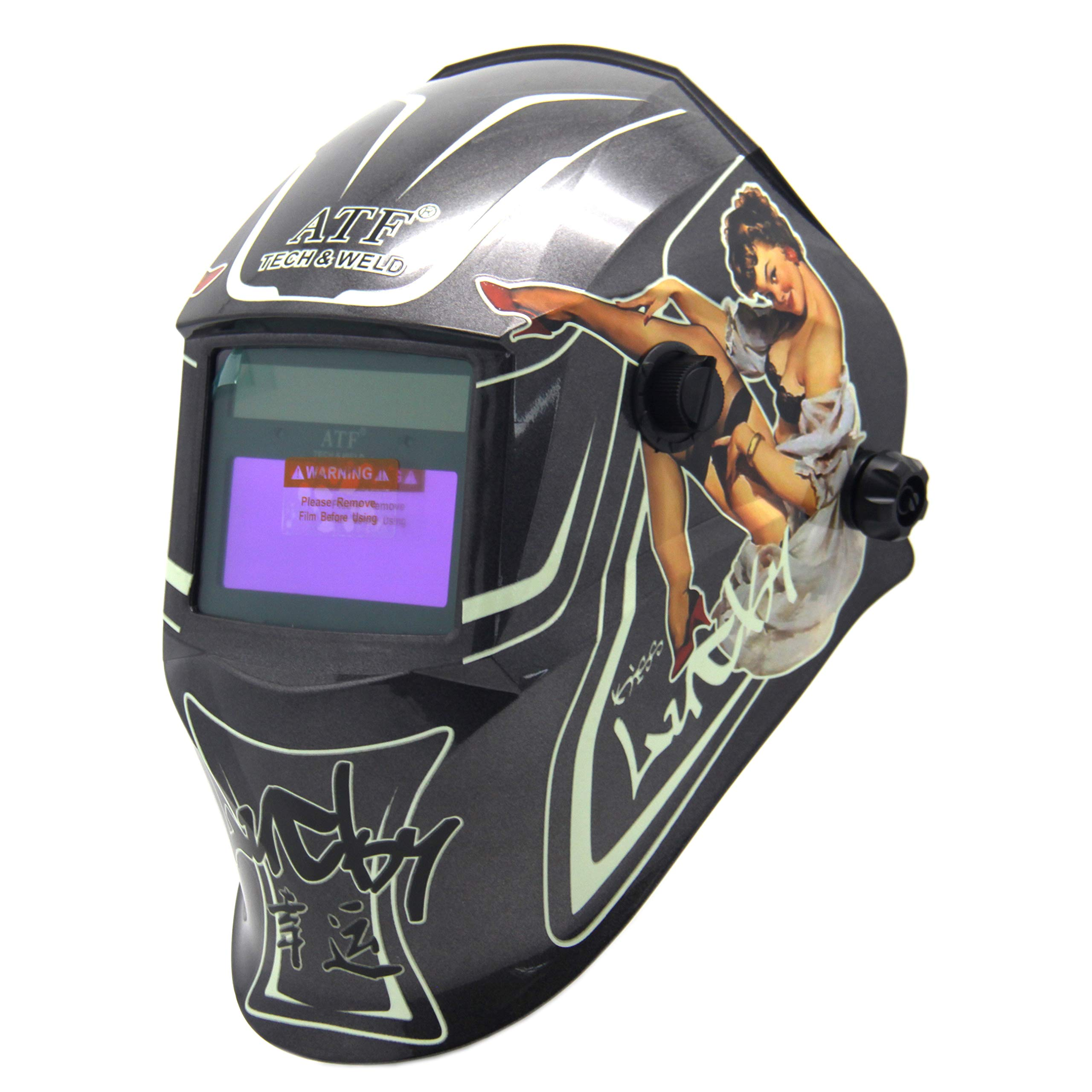 ATF Solar Powered Auto Darkening Welding Helmet Luminous and Ultra High Definition Welding Hood With Adjustable Shade Range DIN4/9-13,With +2.00 Magnifying Welding Lens.