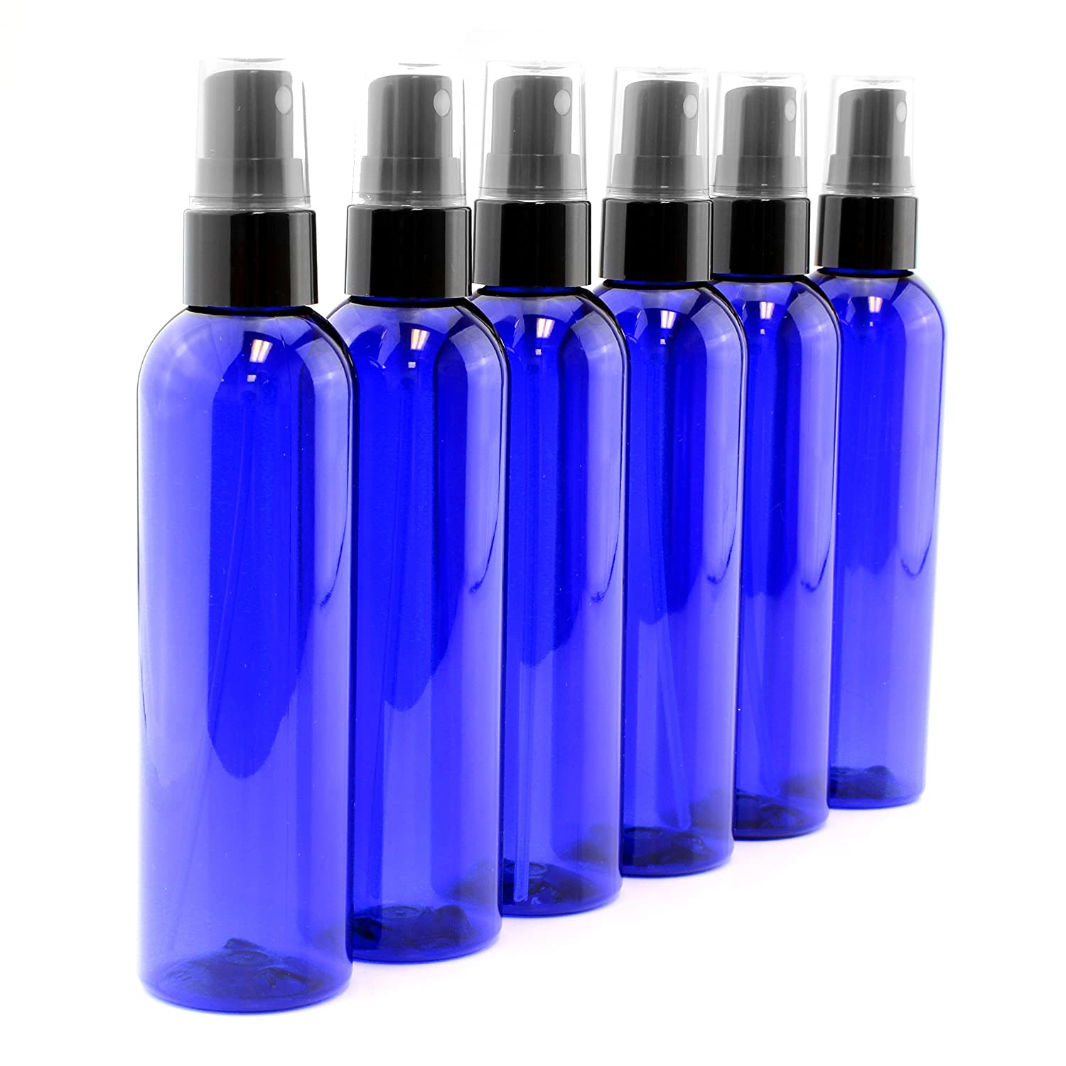 4oz Cobalt Blue Empty Plastic Refillable PET Spray Bottles w Fine Mist Atomizer Caps 6-Pack Sprayers for DIY Home Cleaning, Aromatherapy, Travel, On-The-Go Beauty Care 4 Ounce, Cobalt Blue, 6