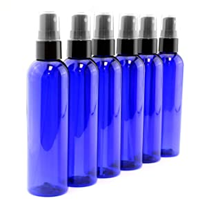 4oz Cobalt Blue Empty Plastic Refillable PET Spray Bottles w/Fine Mist Atomizer Caps (6-Pack); Sprayers for DIY Home Cleaning, Aromatherapy, Travel, On-The-Go & Beauty Care (4 Ounce, Cobalt Blue, 6)