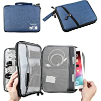 Topbooc Electronics Travel Cable Organizer Bag Case for USB Cords Cables Chargers and Other Men Tech Accessory Gadgets (Classic-Blue, L)