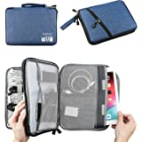 Double Layer Electronic Accessories Organizer, Travel Gadget Bag for Cables, USB Flash Drive, Plug and More, Perfect Size Fits for iPad (L-Blue)