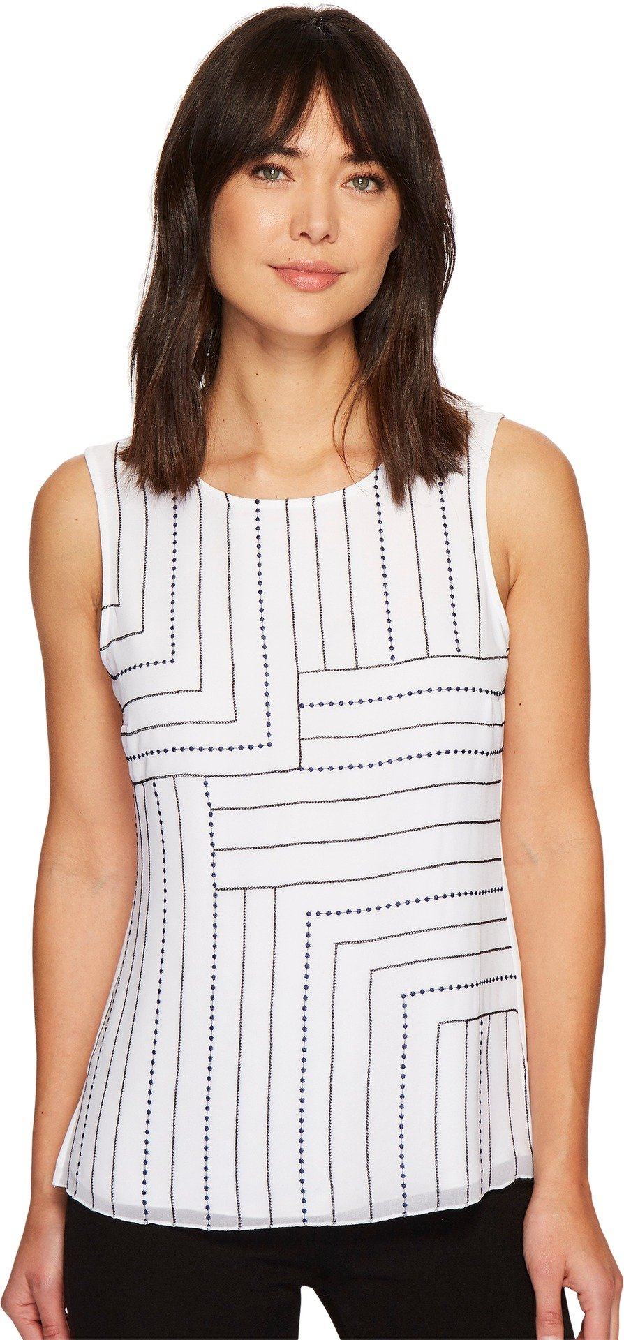 NIC+ZOE Women's Blue Line Tank Top Paper White X-Small