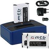 3x Baterías + Cargador doble (USB/Coche/Corriente) para Sony NP-BX1 / Sony Action Cam HDR-AS10, AS15, AS20, AS30(V), AS100V, AS200V / FDR-X1000V... v. lista