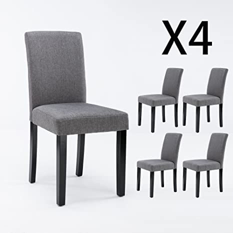Admirable Dagonhil Dining Chairs Fabric Kitchen Parson Chair Urban Style Dining Side Chair With Solid Wood Black Legs Set Of 4 Grey 4 Dailytribune Chair Design For Home Dailytribuneorg