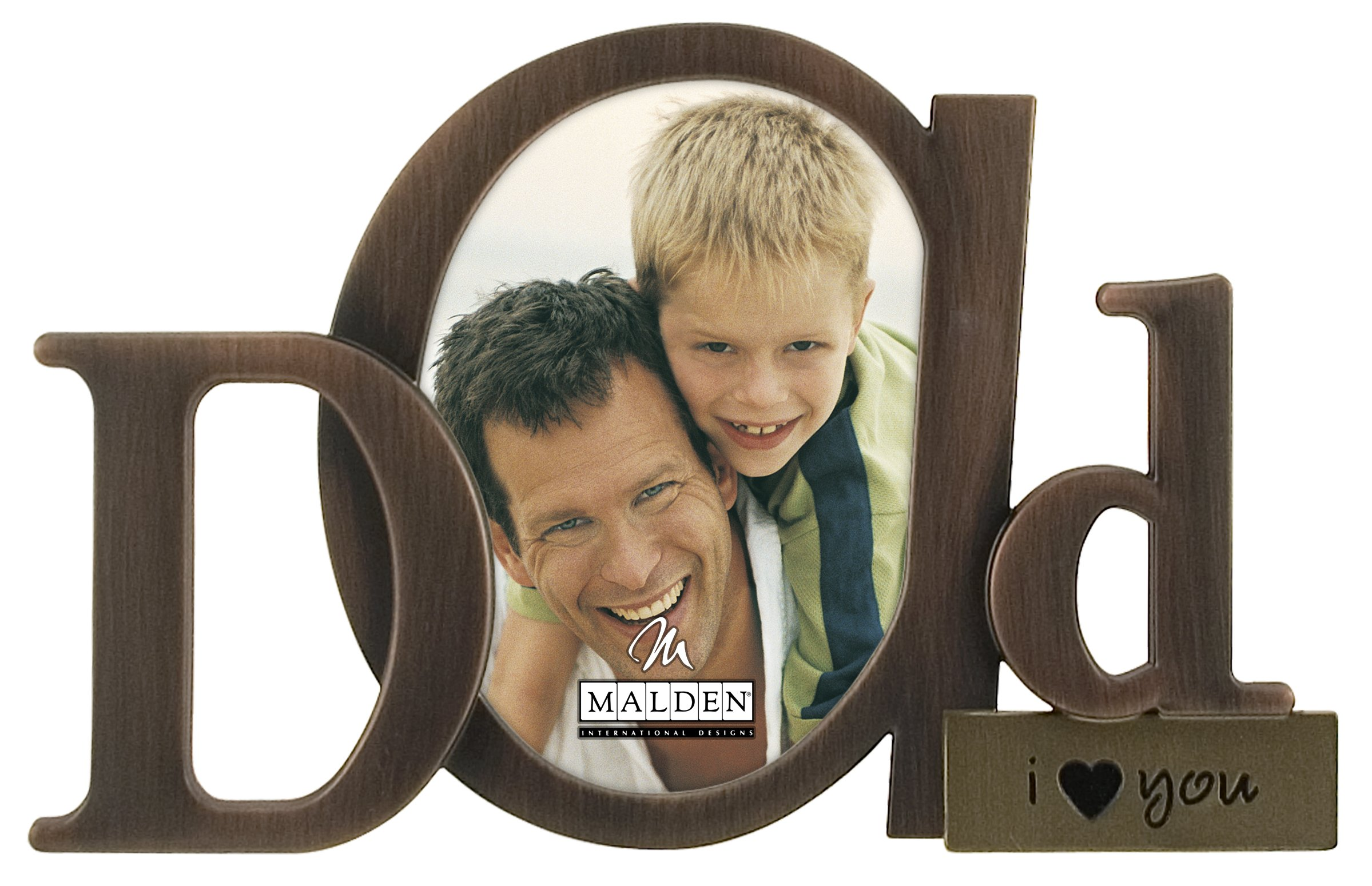 Malden International Designs Bronze Script Dad Picture Frame, 3.5x4.5, Bronze