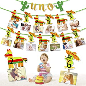 PROLOSO Mexican Fiesta Birthday Banners 12 Monthly Photo Banner UNO Highchair First Birthday Banner with Cupcake Topper for Party Decorations
