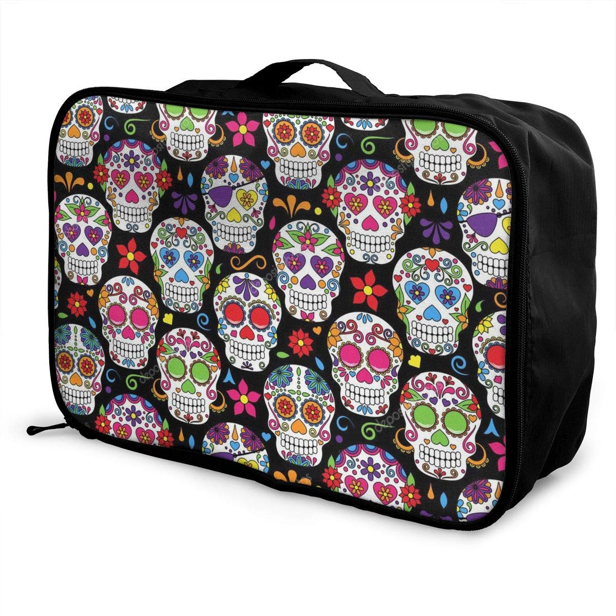 Travel Fashion Lightweight Large Capacity Duffel Portable Waterproof Foldable Storage Carry Luggage Tote Bag Cute Skull Pattern
