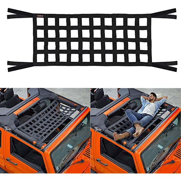 Seven Sparta Car Roof Net Hammock Compatible with Jeep Gladiator JT /& Jeep Wrangler YJ JK TJ JKU JL JLU 1987-2020 4-Door and 2-Door