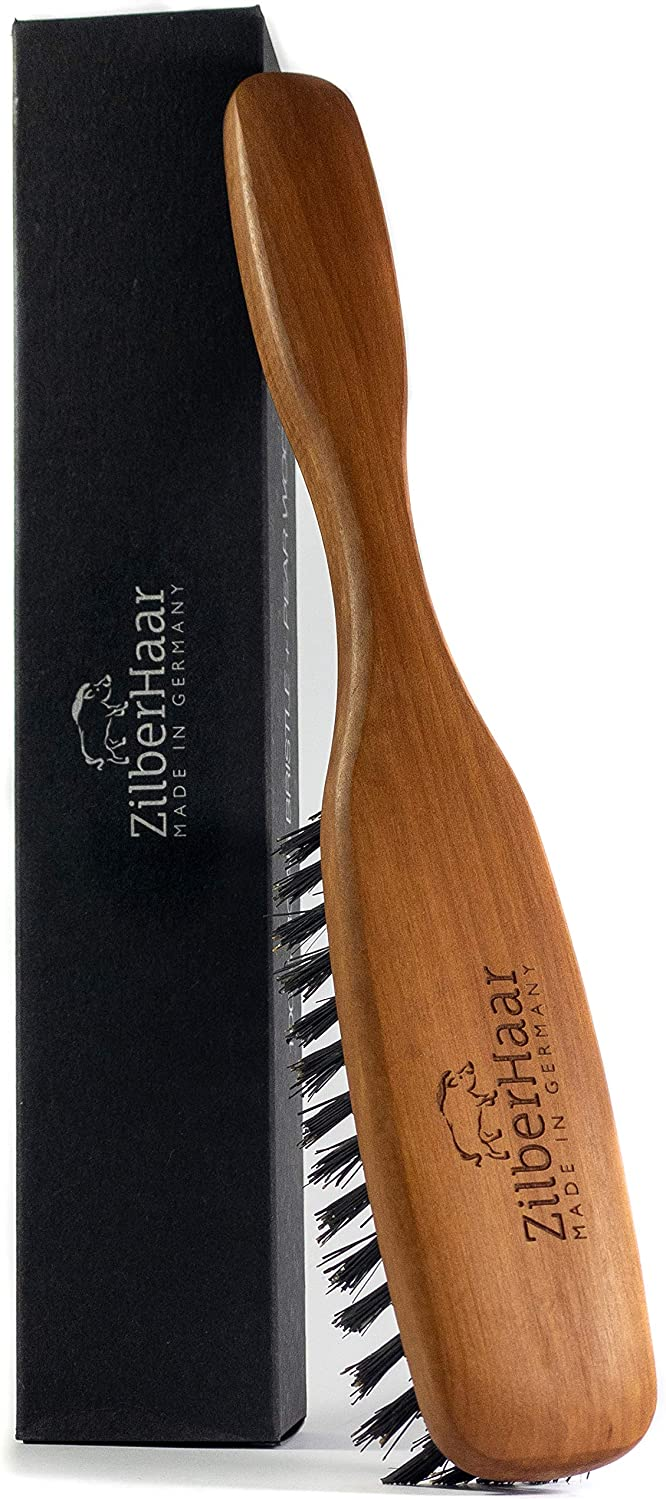 ZilberHaar Long Hair & Beard Brush - Soft 2nd Cut Boar Bristles - Perfect Skin Care for Men - Works with all Beard Balms and Beard Oils - Exfoliates Skin, Helps Softening and Conditioning Itchy Beards