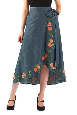 0431e75563e eShakti Women s Floral embellished cotton chambray wrap skirt UK Size 14    Regular height Indigo