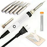 Magento's Superb 9 Pieces Set Soldering Iron Kit 60w - 220v - Best for Small Electric Work, Jewellery and Welding. Adjustable Temperature [5 Free Tips in Various Sizes + Free Solder Wire + Stand].