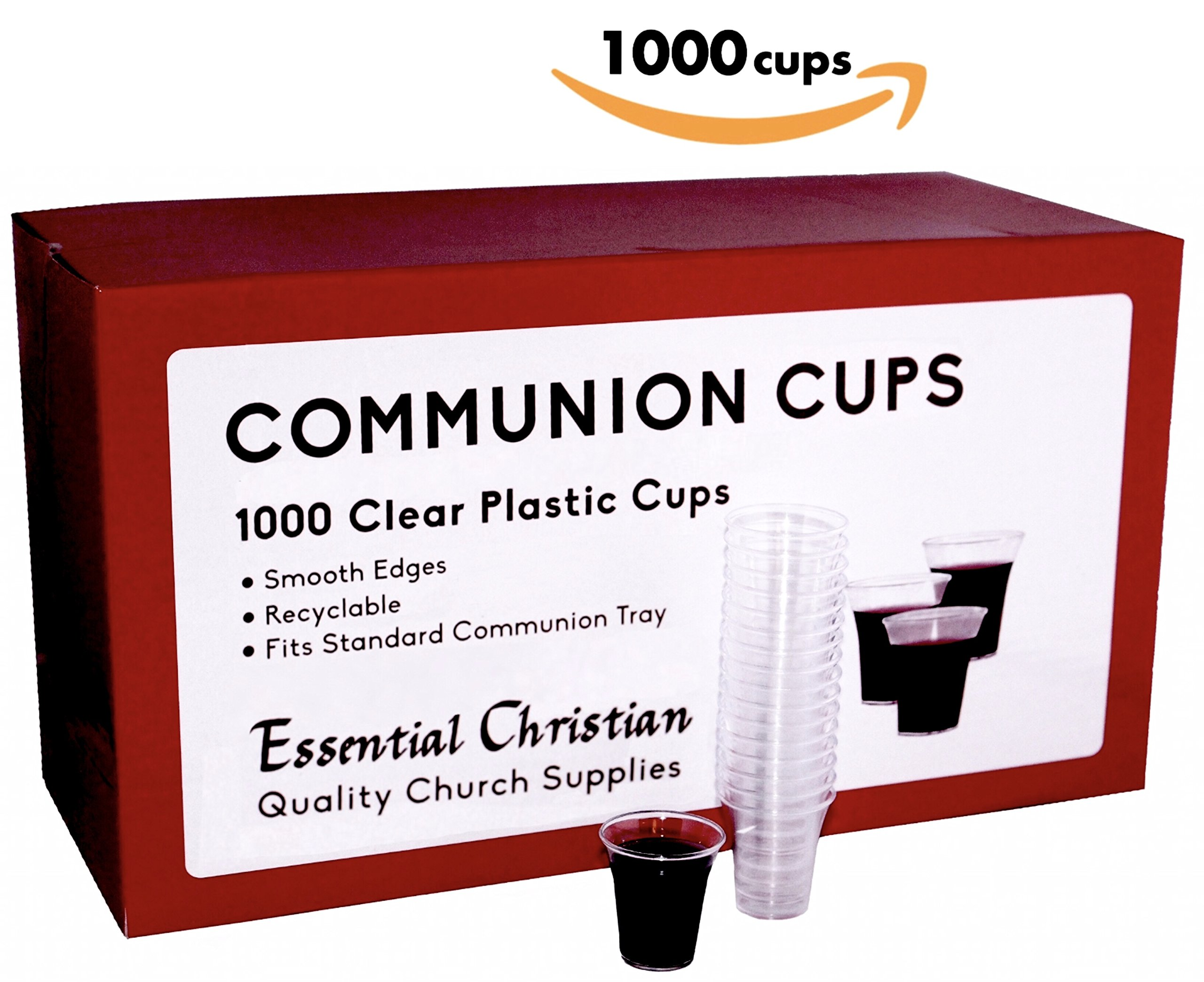 Communion Cups Recyclable Plastic - Box of 1000 - Fits All Standard Communion Trays - Surpasses FDA Quality Standard