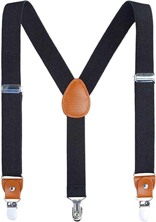 24 inches 1 Inch Y Back 3 Strong Metal Clips Solid Color Adjustable Suspender AWAYTR Toddlers Boys Elastic Suspenders , Brown 7 Months - 3 Years