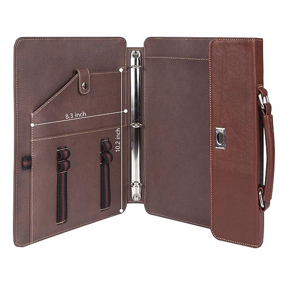 Profesional Compacto cartera portadocumentos de piel auténtica cartera de negocio profesional organizador caso bolsa con asa para nuevo iPad Pro 10,5/iPad ...