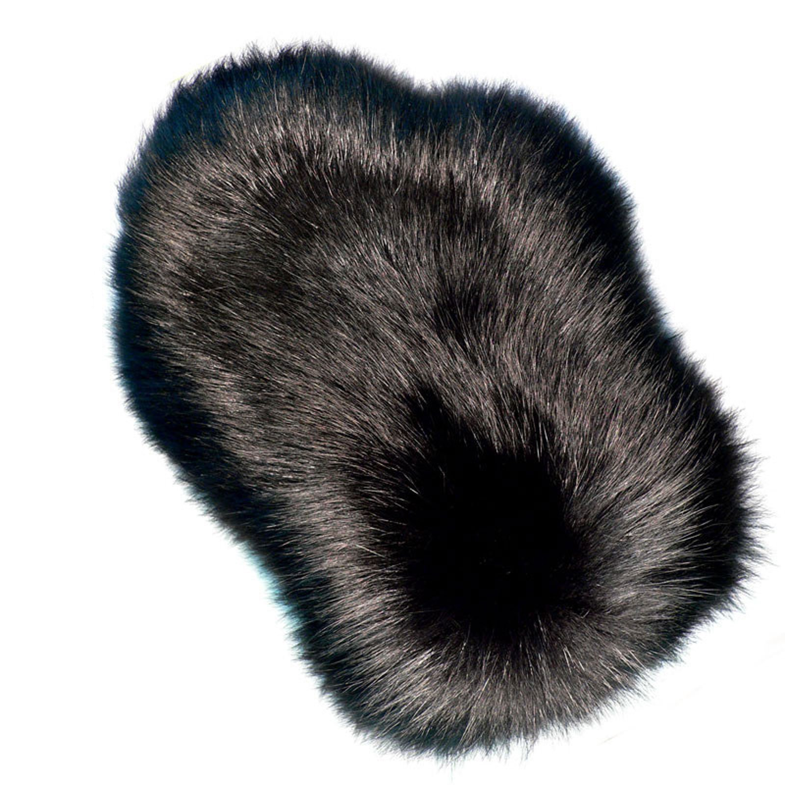 MinkgLove Fox Massage Glove, Textured and Silky Soft Feel, Ranch Black Color, Hand Tailored, Unisex, One Size - Double Sided Fur