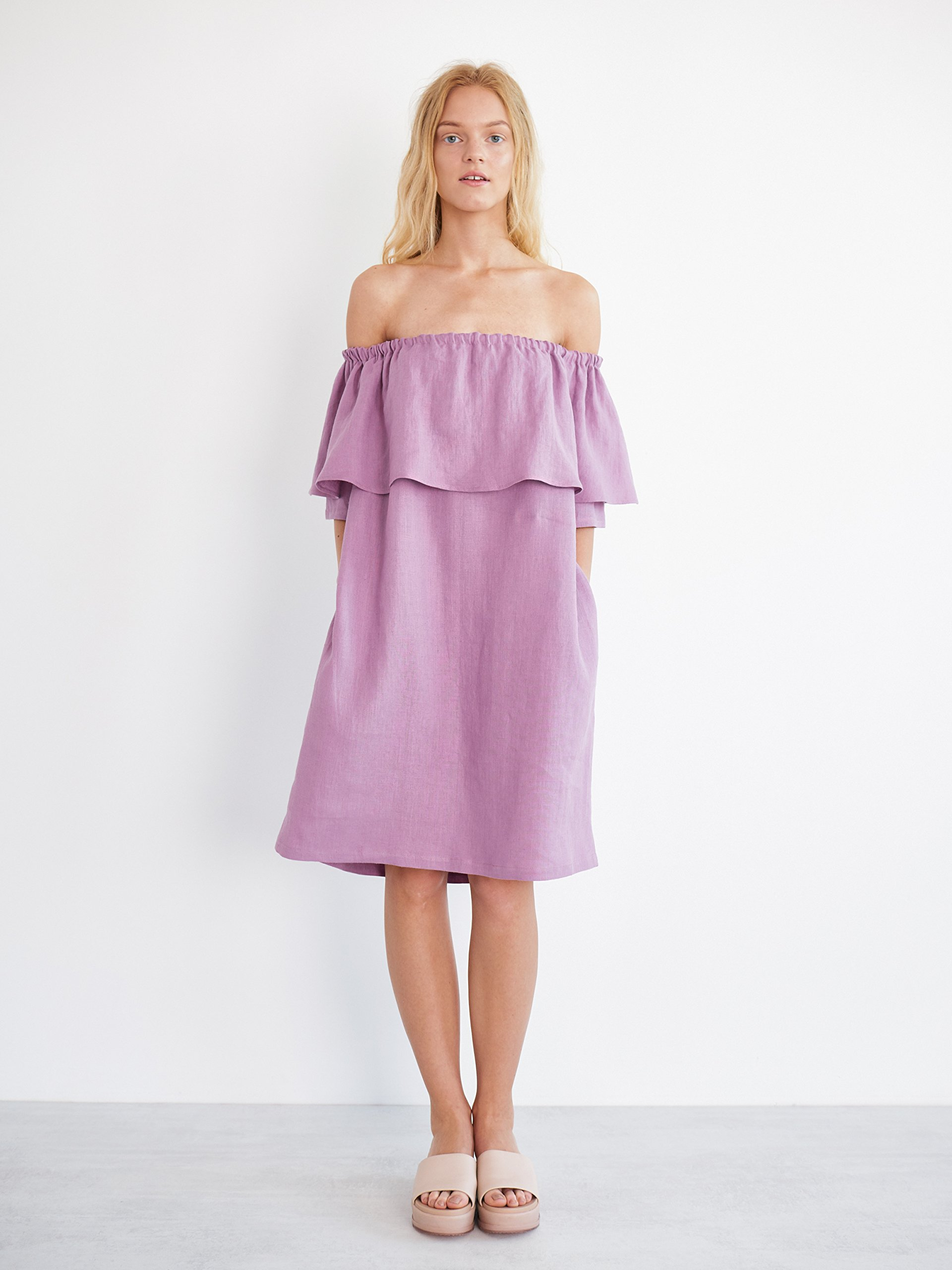 THALIA Ruffle Off The Shoulder Dress in Radiant Orchid Cold Shoulder Summer Dress Midi Knee Length Ruffle