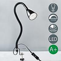 Flexo LED con cuello flexible I Lámpara con pinza I LED para escritorio I Luz de Lectura I Lampara de Mesa I Foco con 1 bombilla de 5 W GU10 I Iluminación regulable con 3 niveles I 230 V I IP20