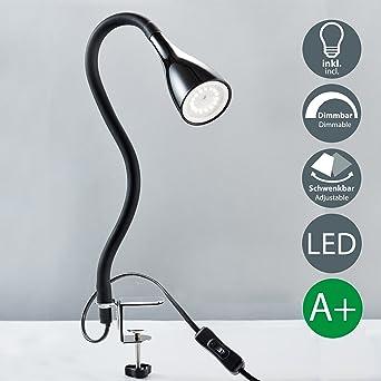 B K Licht Lampe De Chevet A Pince Led Avec 3 Niveaux De Luminosite