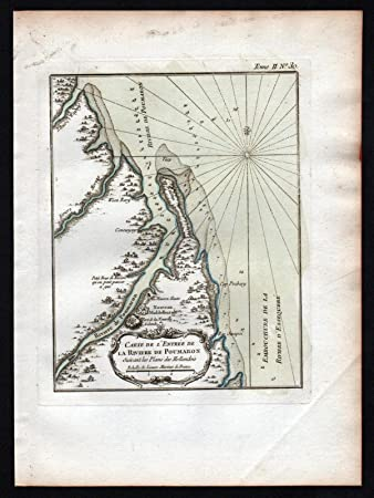 Pomeroon river Guyana South America Bellin handcolored antique map ...