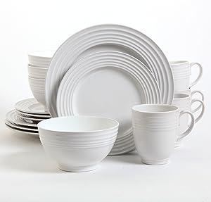 Gibson Home Stanza 16-Piece Dinnerware Set, White