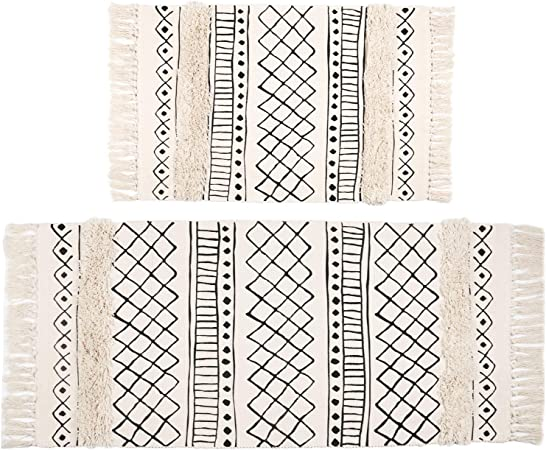 HEBE Cotton Area Rug Set 2 Packs 2x3+2x4.2 Machine Washable Reversilbe Woven Cotton Rugs and Runner Set for Kitchen Floor Living Laundry Room Bedroom