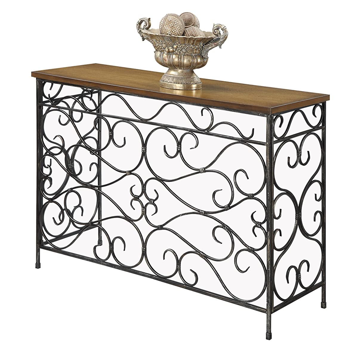Convenience Concepts Wyoming Metal and Wood Console, Black Antiqued Finish