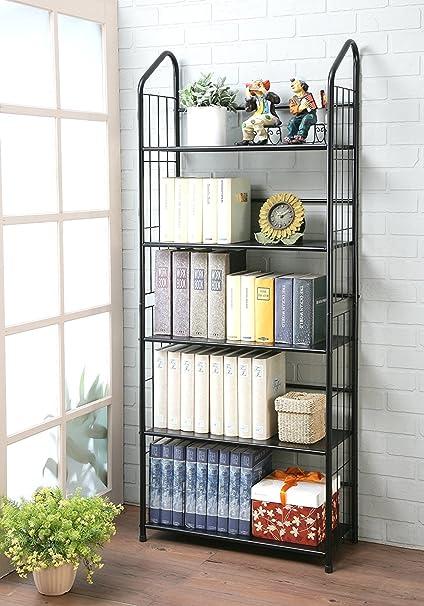 Unbrand FT 597BK 5 Black Tier Metal Bookshelf Rack