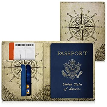 7ee14d529768 kwmobile Passport Holder with Card Slots - PU Leather Passport Cover  Protective Case - Travel Wallet for Men & Women