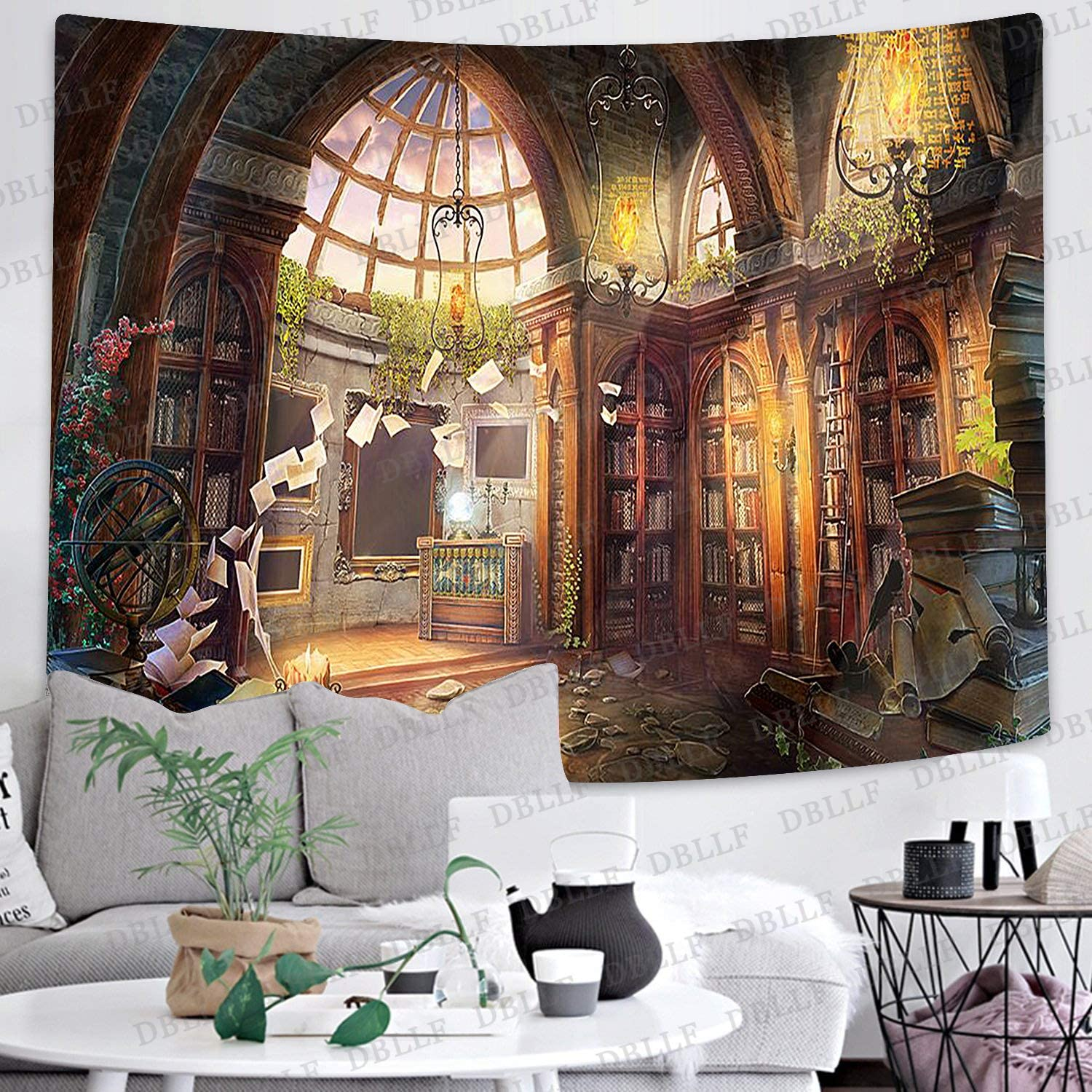 Dbllf Medieval Home Decoration Tapestry Game Background Theme Tapestry Scattered Books And Bookshelves Tapestry For Bedroom Living Room Dorm 80x60 Inches Dbzy1347 Amazon Ca Home Kitchen
