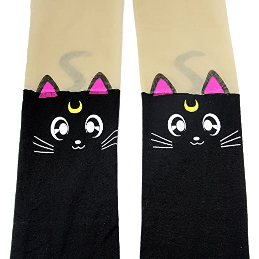 3ebf5b00d9e Amazon.com  Anime Sailor Moon Luna Cat Cute Tight Printing Socks Cosplay  Pantyhose Costume (Black)  Clothing